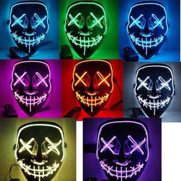 Canada 10 Couleurs EL Fil Fantôme Masque Slit Mouth Light Up Glowing LED Masque Halloween Cosplay Glowing LED Masque Partie Masques 1 pcs Offre