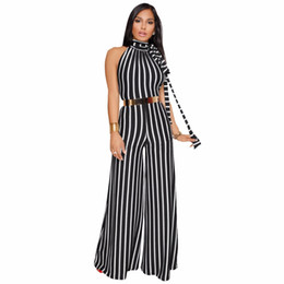 Wholesale Classic Pants For Women - 2018 Sexy Clubwear Backless Overalls For Women Jumpsuits Playsuits Fashion Classic Striped Lace Up Straight Full Length Pants