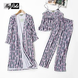 Wholesale Sexy Pyjamas For Women - Autumn sexy Lip prints striped 3-piece pajamas sets women pyjamas 100% cotton sleepwear for women pijama de algodon para mujer