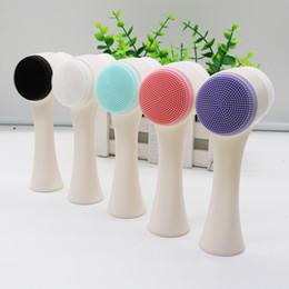 Máquinas para escovar o rosto on-line-3D Face Dupla Lavagem Da Máquina Escova de Limpeza Da Pele Esfoliante Facial Escova de Limpeza Facial Lavagem Produto