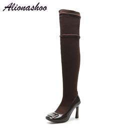 Alionashoo 2018 Neue Schuhe Frauen Stiefel Schwarz Overknee Stiefel Sexy  Weibliche Herbst Winter dame Oberschenkel Hohe Große Größe 34-46  oberschenkel hoher ... 47aa72d0f8