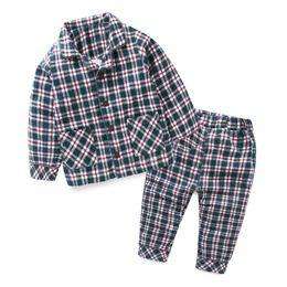 Wholesale Turtleneck Collar Kids - Mudkingdom Baby Boys Girls Cotton Plaid Pajamas Sets Kids Full Length Home Clothes Autumn Turn -Down Collar Children Clothing