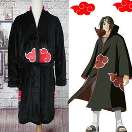 itachi uchiha costume cosplay Sconti Naruto Accappatoio Cosplay Akatsuki Flanella Pigiama Inverno Robe Uchiha Itachi Costume di Halloween