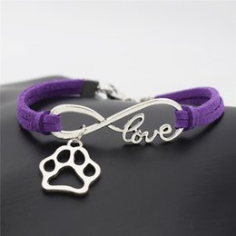 bracelet dog pendants Promo Codes - Luxury Infinity Love Pet Footprint Cats Dogs Paw Claw Pendant Jewelry Purple Leather Suede Rope Bangles Forever Love Bracelets For Women Men