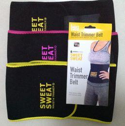 Wholesale Trimmer Belts - 3 Colors 3 Sizes Sweet Sweat Premium Waist Trimmer Unisex Belt Slimmer Exercise Waist Wrap With Retail Package CCA5627 100pcs