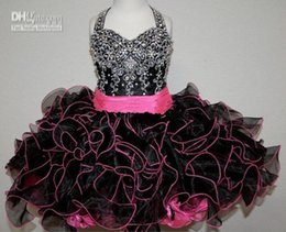 Canada Perfect Lovely Black Halter perlé Mini Flower Girl Robes avec ceinture rose 2018 Ruffels Jupe Crystal perlé Toddler Infantile robe Offre