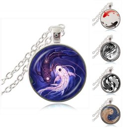 Wholesale chinese glass plates - Yin Yang Pendant Necklace Yin Yang Fish Jewelry Ying and Yang Tai Chi Necklace Chinese Taoism Eight Diagrams Pattern Glass Dome Jewellery