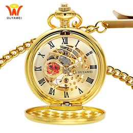 2bb6dcc2619 Esqueleto de ouro Mecânico Mens Relógio de Bolso Fob Relógio Pingente de  Colar de Relógio Do Vintage Antigo Mão Mecânica Cadeia de Vento Relógios
