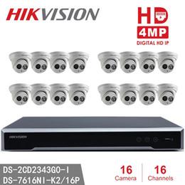 Argentina Hikvision 16 canales 4MP Sistema de seguridad para el hogar 16pcs Cámaras domo 4MP DS-2CD2343G0-I Vigilancia IP Poe para interiores WeatherProod IP 16 canales NVR Suministro