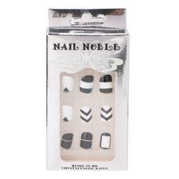 Pregos acrílicos brancos pretos on-line-24 pçs / set beleza preto + branco unhas postiças acrílico dicas completas unhas adesivos ferramenta
