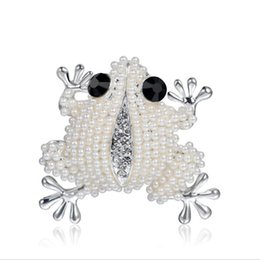 Wholesale Gold Frog Jewelry - Danbihuabi Classic gold silver plated Inspired frog animal brooches for women wedding rhinestone brooch pins broches jewelry