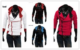 assassins hoodie Rabatt Mode Für Männer; S Hoodies Assassins Creed Hoodies Männer Geneigter Reißverschluss Kontrastfarbe Mit Kapuze Pullover Hip Hop Sweatshirts Casua