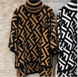 Sudaderas de invierno para mujer online-Suéter Pullover marca de las mujeres con capucha de manga larga diseñador sudadera carta bordado prendas de punto de invierno de lujo letra F de punto para mujer