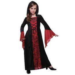 Ropa de vampiro online-2018 Nuevo estilo para niños Cosplay Gothic Madam Vampire Party Ropa de capa Niños y niñas Danza Ropa combinada