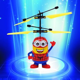 Wholesale Remote Control Water Toys - RC flying induction Minions toys Electric Aircraft Flying Toys UFO Toys with water droplets remote control with retails package box free sh