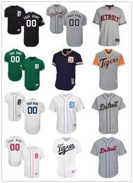 beisebol personalizado Desconto Homens mulheres jovens Detroit custom Tigers Jersey Personalizado # 00 Qualquer Seu nome e número Casa Black White Gray Baseball Jerseys