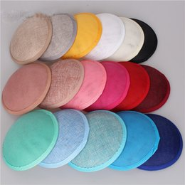 Wholesale sinamay cocktail hat - High Quality Fascinators Base Hat Cambric Imitation Sinamay Cap DIY Hair Accessories Cocktail Hats For Party Wedding 4 5xm UU