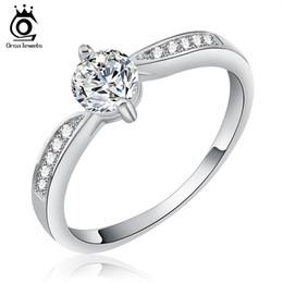 Wholesale Nickel Sets - ORSA JEWELS Luxury Women Wedding Ring Lead & Nickel Free AAA CZ Shiny Rings 0.5 Carat Cubic Zircon For Female OR25