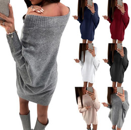Wholesale Black Loose Knit Jumper - Women Long Sleeve Sweater Dress Ladies Off Shoulder Jumper Knitted Loose Mini Dress Shirt Tops Dress 6 Colors OOA3962