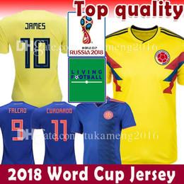 Wholesale mens soccer - Mens Women Colombia 2018 World Cup Soccer Jersey 10 J 9 FALCAO CUADRADO Camisa De Futebol BACCA SANCHEZ GUARIN C.ZUNIGA Football shirts