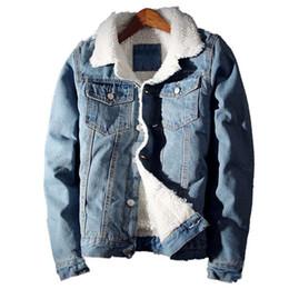 Wholesale Men Jean Jacket Winter - Men's Jean Jacket Fashion Mens Jacket Thick Warm Winter Outwear Male Cowboy Casual Slim Long Sleeve Coat Outdoors Size2XL
