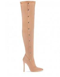 Novo sapatos modelo calcanhares on-line-2018 Novo Modelo Outono Sapatos Mulheres Stretch Lycra Tecido De Cetim Sobre o Joelho Coxa Botas De Salto Alto