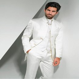 Wholesale tailor s - New Arrival Groom White Wedding Suit For Men 3Pieces Custom Made Tailored Tuxedos Mandarin Lapel Prom Latest Design Slim Blazer