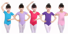 Wholesale Performance Logos - Leotard for girl Ballet Bodysuit Children Girls dancewear School performance Summer Short sleeve Logo print Custom-made 2-9years A8