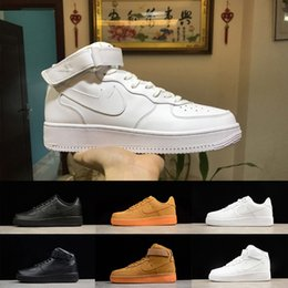 Wholesale Force Shoes - New Arrival forces Classical All White black low high cut men women Sports sneakers Running Shoes Forcing one skate Shoes US 5.5-11