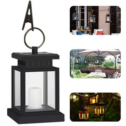 Wholesale outdoor hanging candles - Hot Outdoor Portable Candle Lantern Solar Powered Led Light Hang Lamp waterproof Garden Yard Lawn Wall Landscape Lamp LED wall lamp