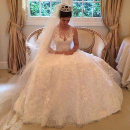 Wholesale Sheer Princess Wedding Dresses - Beautiful Full Lace A-Line Wedding Dress Sheer Neck Sleeveless Applique Wedding Ball Gown Button Back Sweep Train Bridal's Wedding Dresses