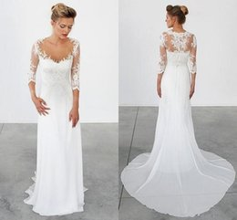Wholesale Greek Backless Dress - Simple Summer Beach Wedding Dresses Vintage 3 4 Long Sleeves Lace Appliques Wedding Gowns Sheath Chiffon Greek Bohemian Bridal Gowns