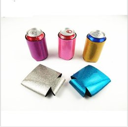 Wholesale glitter bottle - Mermaid Can Sleeves Can Neoprene Beverage cup holder Glitter Foldable Cup Bottle Cover Case Storage Organization KKA5624