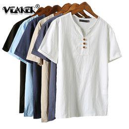 98e539e2b 2018 New Mens Summer Breathable Linen T shirts Male Vintage short sleeve T- shirt Linen V-Neck tshirt Tops Plus Size 5XL