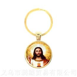 Llaveros jesus online-Bendita Virgen María Madre de Bebé Llaveros Jesucristo Cristiano Colgante Católico Religioso Azulejo Llavero