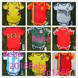 Wholesale Clothes Unisex - 2018 World Cup Spain 6-18 month home Baby soccer jersey new Belgium Mexico soccer Jersey Sleeved Jumpsuit Bebé Triangle Climb Clothes