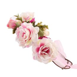 Wholesale Imported Roses - MUQGEW New Coming Lovely Imported China Fashion cute Kids Handmade Rose Flower Headband Hairband Wreath Headdress Accessories