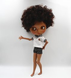 Wholesale Nude Dolls - Blygirl Blyth doll Dark brown explosion curly nude doll black skin joint body 19 joint DIY can change makeup
