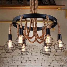 Wholesale fluorescent rope light - Retro led rope pendant Lights edison Industrial pendant light chandelier Vintage Restaurant Living bar lighting