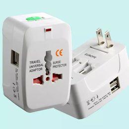 Wholesale Usb Plug Converter - All in One Universal International Plug Adapter 2 USB Port World Travel AC Power Charger Adaptor with AU US UK EU converter Plug for iphone