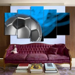 Wholesale Free Sports Posters - HD Printed 5 Piece Canvas Art Soccer Painting Wall Pictures for Living Room Sport Poster Free Shipping