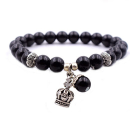 Wholesale Ancient Gold Beads - Natural black onyx beads bracelets women bracelet jewelry with ancient silver crown water drop pendant