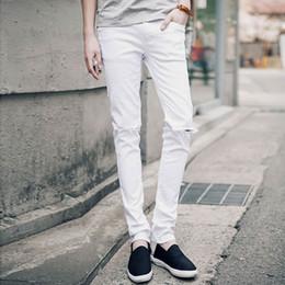 Jeans déchirés au genou noir en Ligne-Hip Hop Hommes Casual Jeans Maigre Pantalon Hommes Solide Noir Blanc Crayon Jeans Déchiré Mendiant Jeans Avec Genou Trou Pour Jeunes Hommes