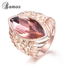Wholesale marquise wedding sets - Bamos Luxury Marquise Cubic Zirconia Ring Vintage Rose Gold Filled Big Wedding Rings For Women Crystal Jewelry Bridesmaid Gift