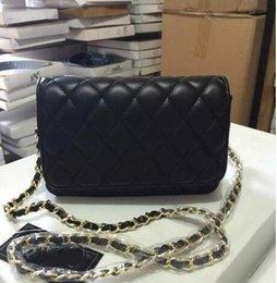 Wholesale Women S Clutches - Hot sale Classic Women&039;s Black Caviar Woc Clutches Crossbody Bag pu Qulited Mini Flap Shoulder Bag 20cm Factory Outlet