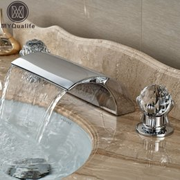 Wholesale Deck Mount Tub Faucets - 2016 New Dual Handle Waterfall Bathtub Mixer Faucet Set Deck Mount Bathroom Tub Basin Sink Faucet Chrome Finish