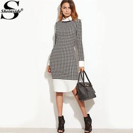 bd01ea28f860df Rabatt plaid houndstooth dress - Sheinside Houndstooth Kontrast gebogene  Saum Combo Kleid Damen knielangen Langarm elegantes