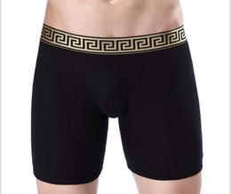 Wholesale Long Boxers - 2018 solid color Polka-dot men's sports long pants gentleman underwear cotton pants running pants plus size leg L