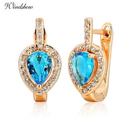 Wholesale Gold Jewellery Designs - whole saleNew Design Pear Light Blue Crystal CZ Zircon Around Teardrop Huggies Small Hoop Earrings for Women Gold Color Jewellery Aros