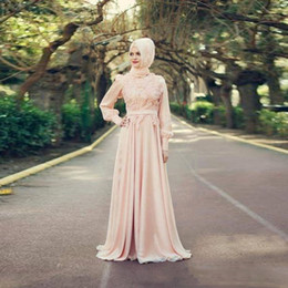 Wholesale Peach Wedding Gowns - 2018 Muslim Peach Wedding Dresses High Neck Long Sleeve Applique Floral Formal Wedding Gowns Belt vestito bambina bianco Dubai Abaya